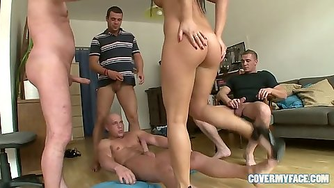Group sex with Frida sitting on dick cowgirl and group sucking