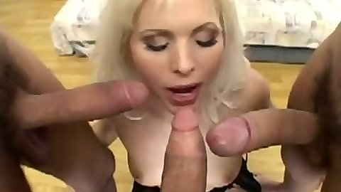 Kathy Anderson receiving multiple cocks in her face in group gang bang sex