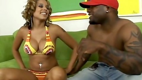 Bikini ebony girl Alana Lee ets her black ass pumped by black cock