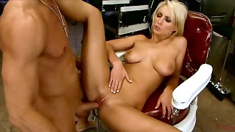Front penetration with Lexi Swallow spreading legs on chair