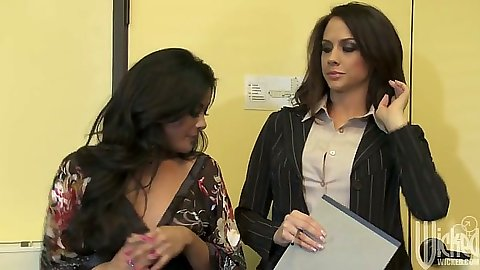 Office threesome with pulled aside panties and blowjob