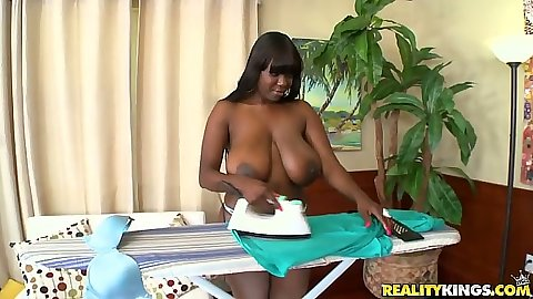 Big natural boobs Chimille Morgan doing her ironing and putting on dress