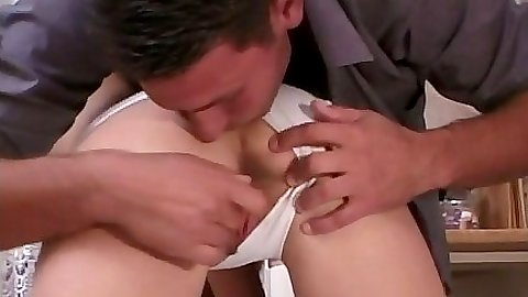 Pulling Missy Lou panties aside and looking into her trimmed pussy lips