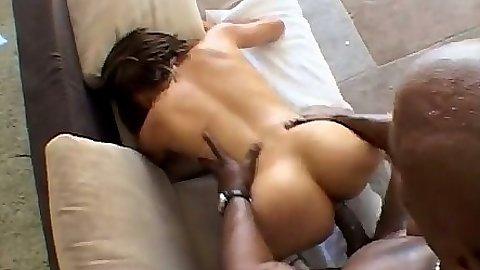Latina Sophia Castello receiving doggy style penetration from black dick