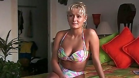 First sex video slut wearing her bikini being a bit shy but open