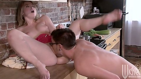 Sunny Lane spreads her legs on a table and gets licked then fucked