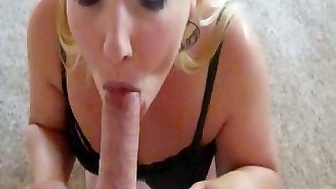 Pov blowjob with amateur FireHotLove kneeling for boyfriends dick