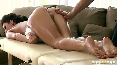 Oil massage with Aleksa Nicole relaxing and touching her big tits