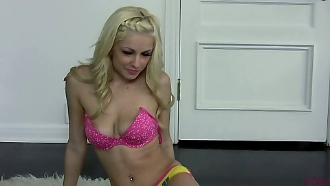 Danielle Trixie in her panties and bra naked on the floor carpet alone