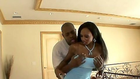 Big tits ebony milf Diamond Jackson in a hot baby blue dress getting ass licked