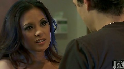 Brunette babe Kaylani Lei making out with guy