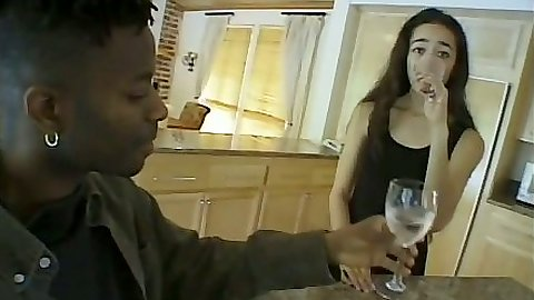 Brunette Destiny Devine getting her pussy licked and sucks black cock