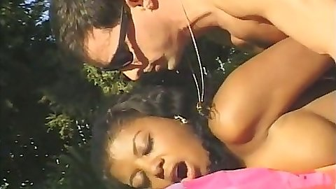 Ebony Jordan Rains gets loaded full of cock outdoors in close up anal sex