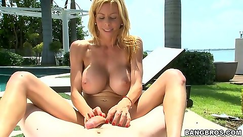 Outdoor big tits handjob with Alexis Fawx rubbing that cock