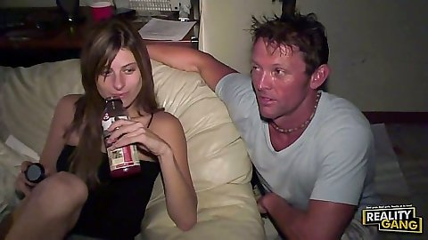 Party time with drinking babe taking her clothes off