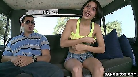 Backseat with bikini Lilly Hall flshing her titties