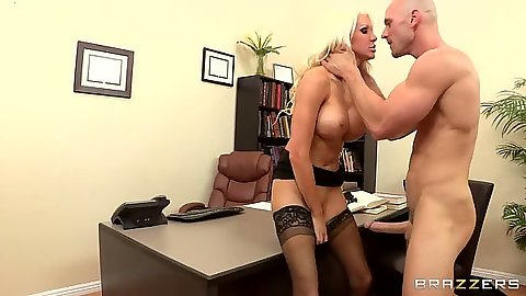 Big tits teacher Holly Price making student work her in the office