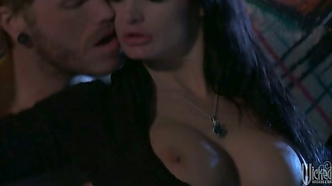 Alektra Blue showing her big tits and night time half dressed blowjob outdoors