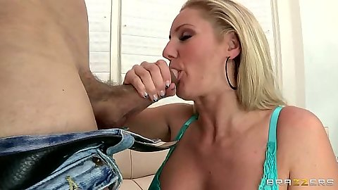 Blonde Zoey Holiday takin off her bra and titty fucking with blowjob