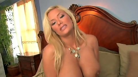 Blonde big tits Shyla Stylez rolling around the bed and sucking dilo