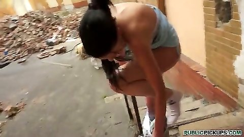 Tea Key takes off her panties to fuck guy in public street back alley
