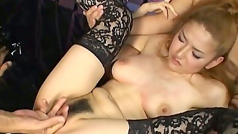 Hairy pussy asian gets fingered and jerks two cocks then sucks
