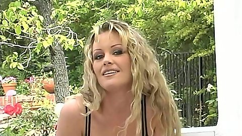 Big tits Belladonna outdoors in bra and panties