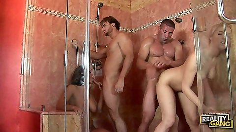 Shower standing fuck group sex with college sluts