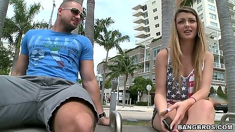 Teen public outdoor Staci Silverstone wearing short short shorts