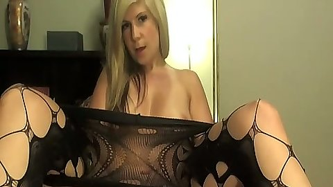 Gf Lizbenz pulls down her pantyhose and fucks self with dildo