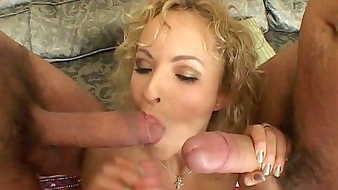Natali Light gets gang bang blowjobs and sits on cock cowgirl