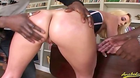 Great round ass Kelly Wells sucks black cocks while they ejaculate in mouth