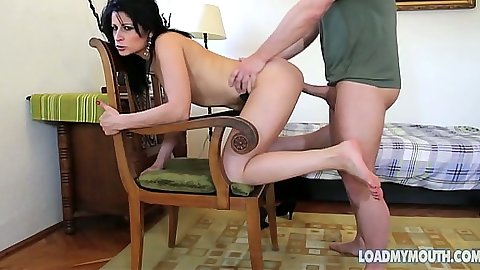Doggy style fucking Emma Hot on a chair and she shows body