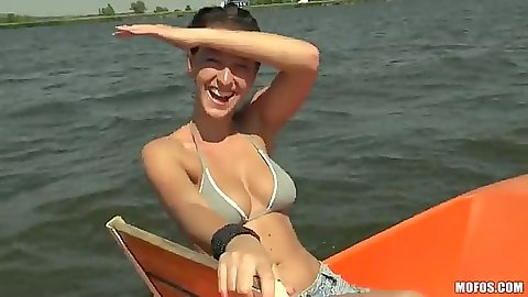 Public amateur slut Nikol in her bikini on a boat outdoors