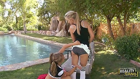 Ella Milano and Callie Cobra are horny cheerleader lesbians in audition