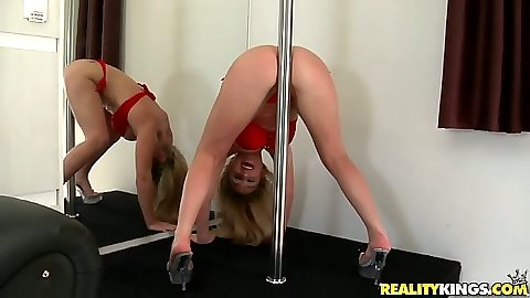 Latina Rafaella rubbing her ass on a stripper pole then sucks some dick