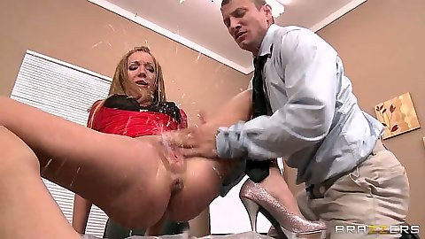 Squirting Amy Brooke in the office after some nice fingering half dressed
