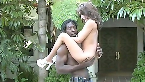 Outdoor interracial sex with Angelica looking to sucking some black balls