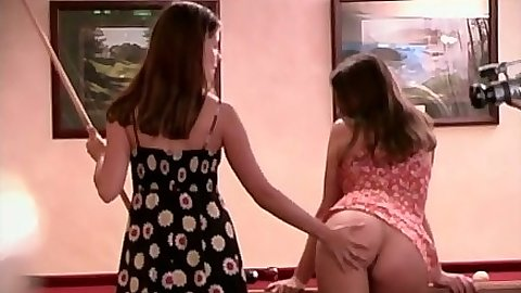 Sexy lesbians Regina Hall and Paula with s2 playing some pool