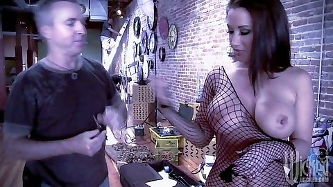 Jayden Jaymes wearing a sexy fishnet outfit showing naked body