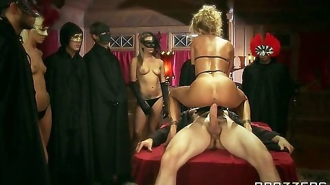 Milf Devon fucking during a masked fantasy sex on table