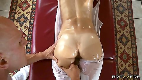 Awesome oil massage with Jenni Lee getting her pants ripped