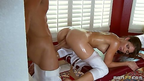 Doggy style oil sex with Jenni Lee fucked with her pants ripped open