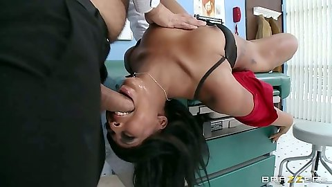 Doctor exam for ebony Leilani Leeane getting cock shoved in mouth for sucking