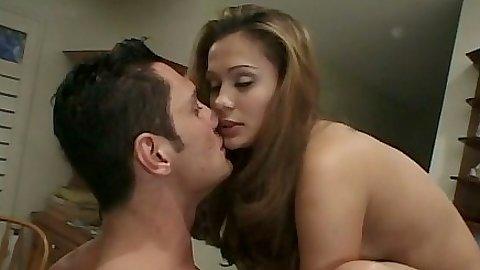 Small tits Eva Roberts fucks on kitchen counter and then sucks it