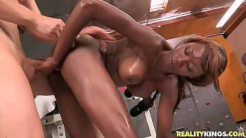 Doggy style fucking ebony hottie Alana Angel with oil all over her ass