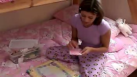 18 year old teenie Trixie Teen doing her homework naughty naughty