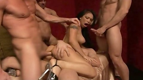 Medium natural tits Lucy Thai group orgy sex with double penetration anal