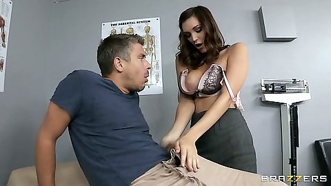 Doctor visit from Holly Michaels working her patients cock