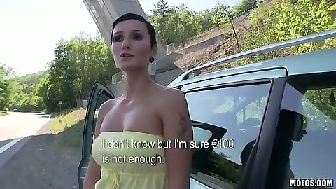 Big tits amateur Gabrielle Gucci picked up in public under the bridge for cash